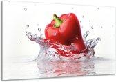 Schilderij | Canvas Schilderij Paprika, Keuken | Wit, Rood | 120x70cm 1Luik | Foto print op Canvas