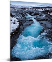 Verschillende blauwe kleuren in het water van de Gullfoss waterval Aluminium 60x80 cm - Foto print op Aluminium (metaal wanddecoratie)