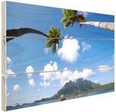 Bora Bora Oceanie Hout 160x120 cm - Foto print op Hout (Wanddecoratie) XXL / Groot formaat! / Zee en Strand