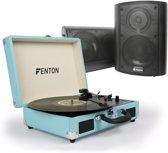 Fenton RP115 platenspeler in koffer met HiFi speakerset
