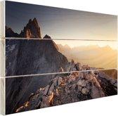 Uitzicht over de bergen Hout 30x20 cm - klein - Foto print op Hout (Wanddecoratie)