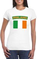 T-shirt met Ierse vlag wit dames S