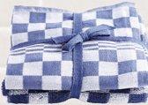 Treb Horecalinnen Keukenset - 2x Handdoek + 2x Theedoek - Blauw geblokt - Katoen