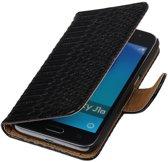 Zwart Slang booktype cover hoesje voor Samsung Galaxy J1 Nxt / J1 Mini