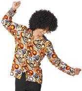 Hippie Kostuum | Caleidoscopisch Hemd 70s Cirkels Man | Maat 48 | Carnaval kostuum | Verkleedkleding
