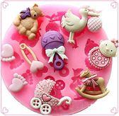 Fondant Babyshower Mal - Siliconen Baby en Kindje thema vorm - Fondant / Marsepein / Chocolade / Zeep Kinderwagen fles speen - Voor decoratie van taart, cupcakes en cake bij een geboorte