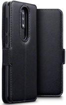 Hoesje voor Nokia 5.1 Plus, MobyDefend slim-fit echt leren bookcase, Zwart