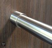 Rvs garderobebuis model Hidden 116 - 125 cm - Wandkapstok - RVS - Geborsteld