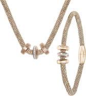 Lucardi - Stalen roseplated ketting&armband 3ringen kristal - maat