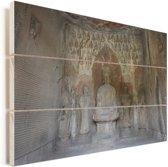 Schitterende muur architectuur in de Grotten van Mògāo Vurenhout met planken 30x20 cm - klein - Foto print op Hout (Wanddecoratie)