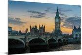 Avondlucht boven de Big Ben in Londen Aluminium 90x60 cm - Foto print op Aluminium (metaal wanddecoratie)