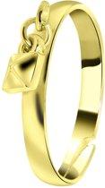 Lucardi - PINK - Goudkleurige byoux ring met vierkant bedeltje