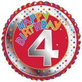 Happy Birthday 4 jaar folie ballon