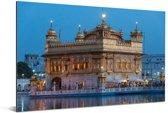De Harmandir Sahib op een vroege ochtend van Amritsar in het noordwesten van India Aluminium 180x120 cm - Foto print op Aluminium (metaal wanddecoratie) XXL / Groot formaat!