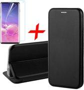 Samsung Galaxy S10e Hoesje TPU Wallet Book Case met Pasjeshouder Zwart + Screenprotector PET Glas Folie - Cover van iCall