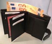Tepassa / Mooie lederen Heren portemonnee ( hoge billfold ) Met sluiting - Zwart