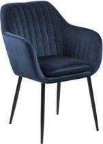 24Designs Sadie Stoel - Fluweel Blauw - Zwarte Metalen Poten