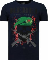 Local Fanatic Skull Rebel - Rhinestone T-shirt - Blauw - Maten: M