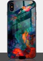 TPU backcover met gehard glas achterkant - iPhone X / XS - rood/blauw