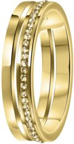 Lucardi Ringen  - Stalen ring goldplated 2rij met light colorado