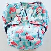 AN8 AIO Newborn wasbare Pocket luier flamingo