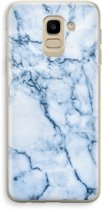 Samsung Galaxy J6 (2018) Transparant Hoesje (Soft) - Blauw marmer