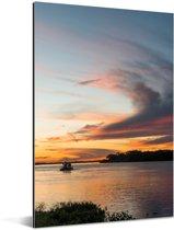 Prachtige zonsondergang bij de Pantanal Aluminium 20x30 cm - klein - Foto print op Aluminium (metaal wanddecoratie)