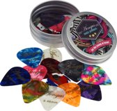 24 Plectrums in blikken doosje - Celluloid plectrum set - thin 0.46, medium 0.71 en thick 0.96 mm