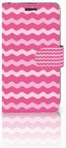 Acer Liquid Z520 Uniek Boekhoesje Waves Pink