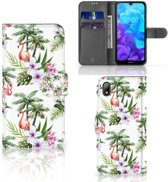 Telefoonhoesje met Pasjes Huawei Y5 (2019) Flamingo Palms