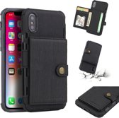 Let op type!! For iPhone XS / X Brushed Texture Shockproof PU + TPU Case  with Card Slots & Wallet & Photo Frame(Black)