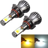 2 STKS 9005 HB3 6 W 400LM Auto LED driekant COB Chips Mistlamp Lamp Vervanging, (Wit Licht + Geel Licht)