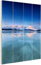 Zonsopkomst in de sneeuw Hout 120x160 cm - Foto print op Hout (Wanddecoratie) XXL / Groot formaat!