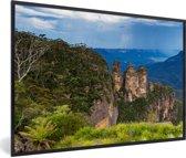 Foto in lijst - Uitzicht over Nationaal park Blue Mountains in Australië fotolijst zwart 60x40 cm - Poster in lijst (Wanddecoratie woonkamer / slaapkamer)