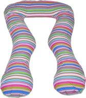 Zwangerschapskussen - Voedingskussen - 100% katoen - 300 cm - wit met kleurrijk lijntjespatroon