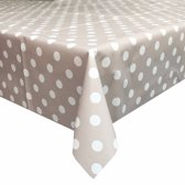 MixMamas Tafelzeil Grote Stip - Rol - 140 x 20 m - Taupe/Wit