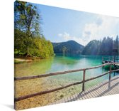 Landschap van het Nationaal park Plitvicemeren Canvas 180x120 cm - Foto print op Canvas schilderij (Wanddecoratie woonkamer / slaapkamer) XXL / Groot formaat!