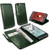 Tuff-Luv - Vintage Genuine Leren portemonnee Case, Apple iPhone 8 Plus met screenprotector - Groen