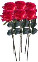 6x Rood/gele rozen Simone kunstbloemen 45 cm