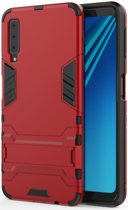 Samsung Galaxy A7 (2018) Hybride Hoesje met Standaard Rood