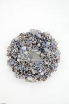 Viv! Home Luxuries Hortensia krans - zijde - grijs blauw - herfst - 30cm - topkwaliteit