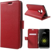 Litchi Cover wallet case hoesje LG G5 rood