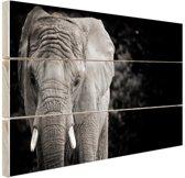 Olifant zwart-wit Hout 120x80 cm - Foto print op Hout (Wanddecoratie)