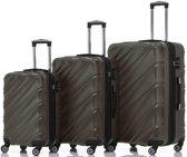 SHAIK® Set van 3 luxe reiskoffers - Antraciet