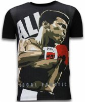 Local Fanatic Muhammad Ali - Digital Rhinestone T-shirt - Zwart - Maten: S