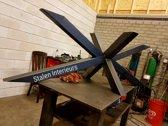 Stalen Triple X - Matrix Poot| 230x80 | Zwart Structuur | Dubbel X-onderstel | Industrieel Tafelonderstel
