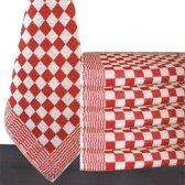 Homéé® Keukendoek rood / wit geblokt - 50x50cm - set van 6 stuks - 100% katoenen badstof