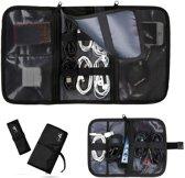 Opvouwbare Kabel Elektronica Organizer - Set van 2 - Travel Organizer voor Kabels - Kabeltas - Sunflake - Zwart