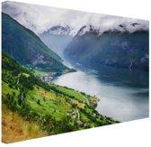 Aurlands Fjord Noorwegen foto Canvas 120x80 cm - Foto print op Canvas schilderij (Wanddecoratie)
