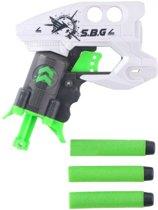 Eddy Toys Shooter Pistool Met Foampijlen Wit/groen 15 Cm